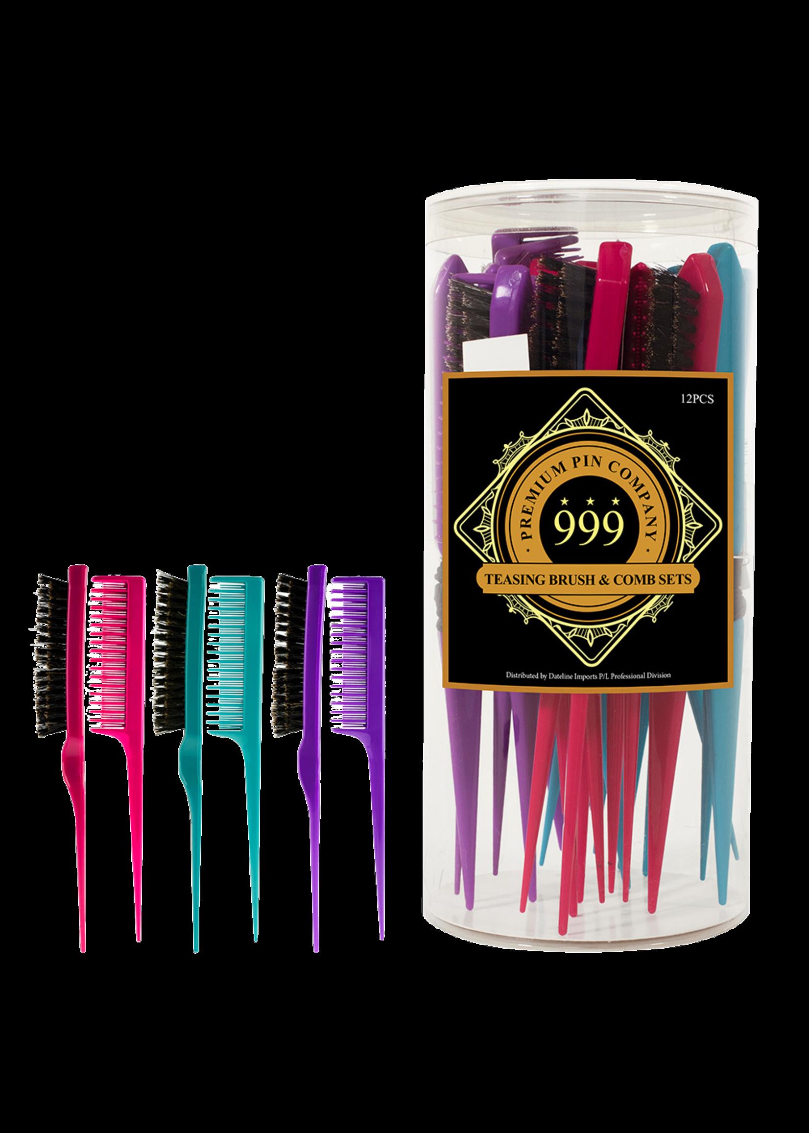 999 Premium Pin Company 999 Teasing Brush & Comb Duos Coloured Tub 12pcs
