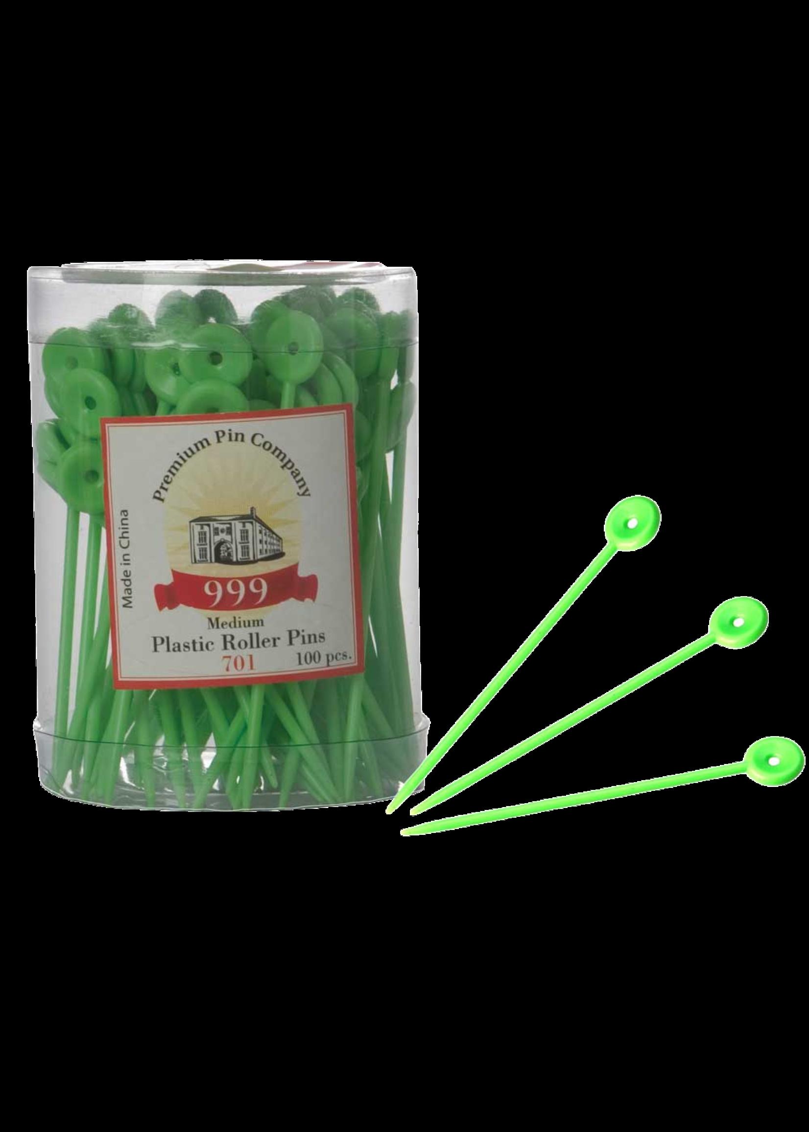 999 Premium Pin Company 999 Roller Pins Plastic Green Tub 100pcs