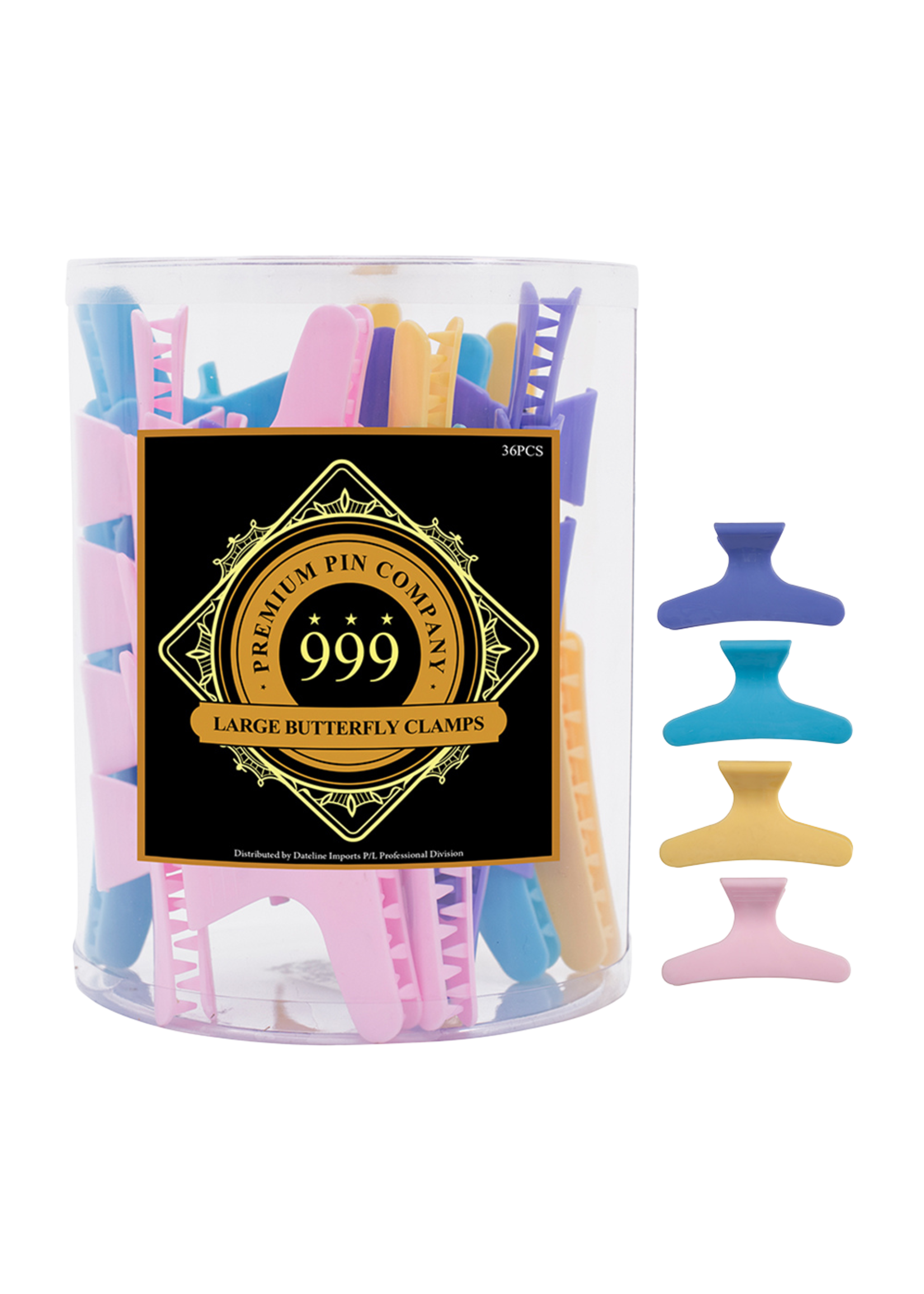 999 Premium Pin Company 999 Butterfly Clamps Large Pastel Tub 36pcs