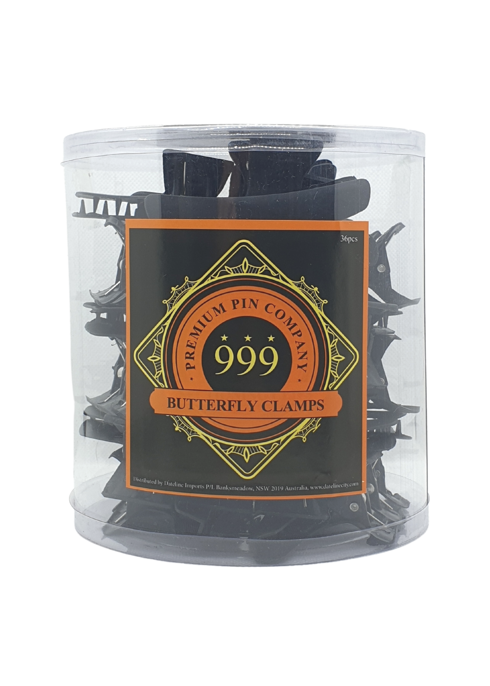 999 Premium Pin Company 999 Butterfly Clamps Large Black Tub 36pcs