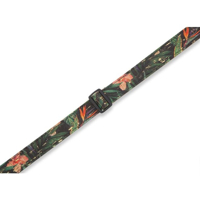 """Levy's - 1"""" Cork Series Ukulele Strap (w/dual leather strap pin ends), Rainforest"""