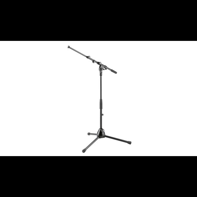 K&M - Short Microphone stand, folding legs with extendable boom arm, zinc die-cast base, black