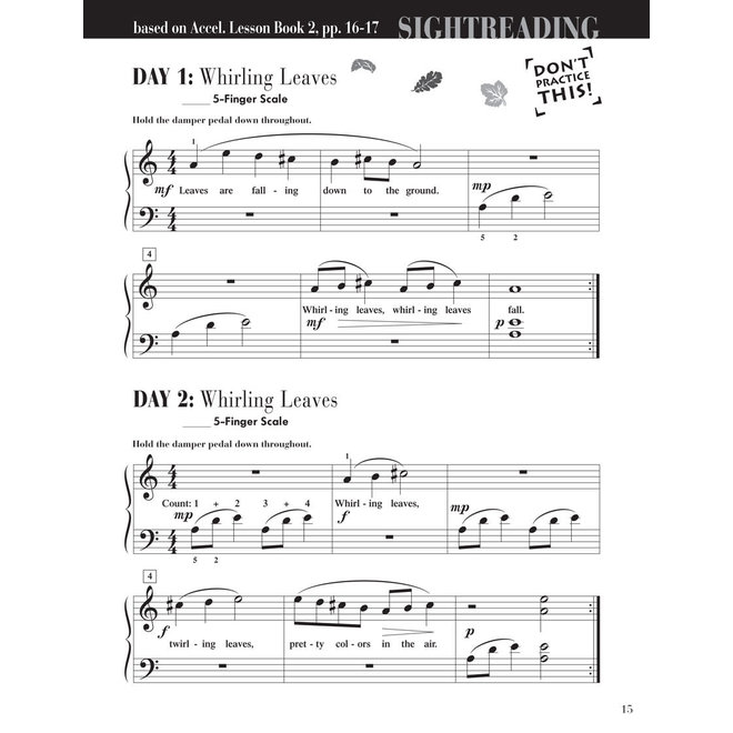Piano Adventures - For The Older Beginnner, Book 2, Sightreading