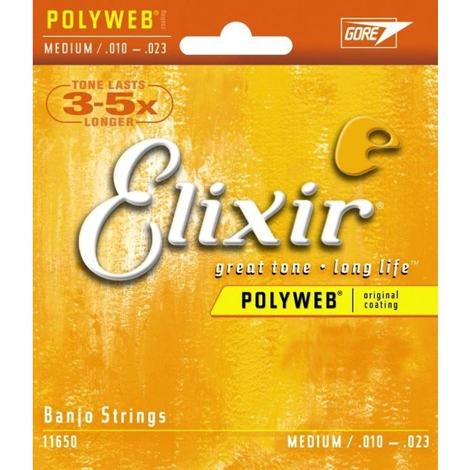 Elixir - 80/20 Bronze (Polyweb) Coated Banjo, 10-20 Medium