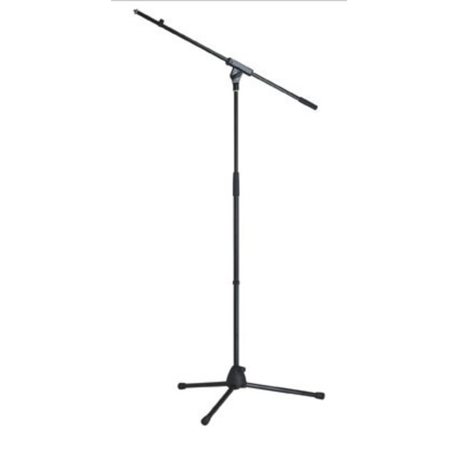 K&M - Microphone stand, folding legs with attached boom arm, fiberglass-reinforced plastic base, black