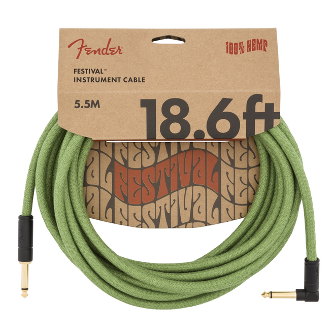 Fender - Festival Instrument Cable, Pure Hemp, Green 18.6' Angled