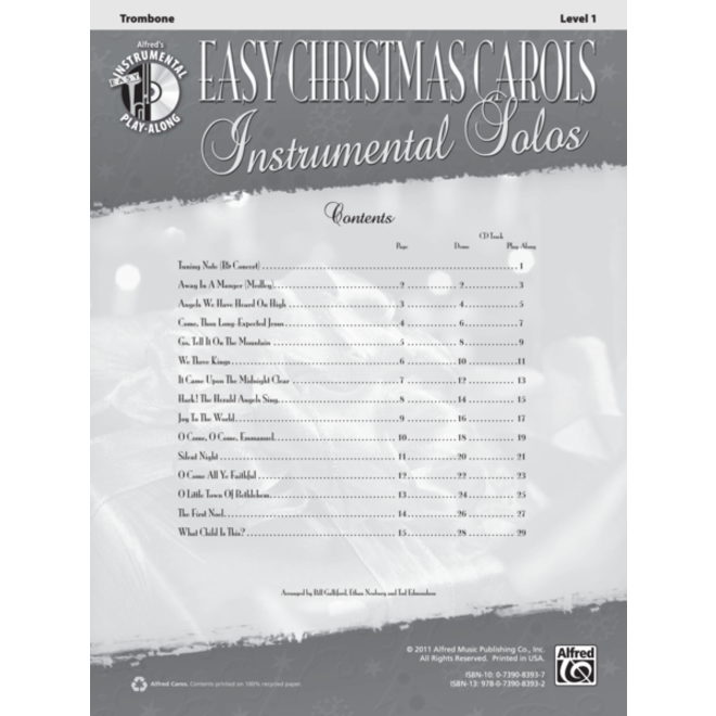 Alfred's - Easy Christmas Carols Instrumental Solos (Trombone), Book and CD