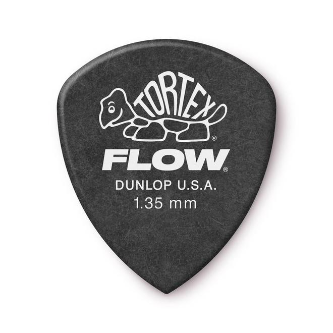 Jim Dunlop - 1.35 Black Tortex Flow Pick Players Pack (12)