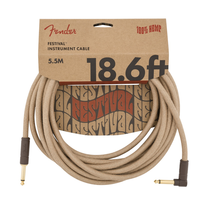 Fender - Festival Instrument Cable, Pure Hemp, Natural 18.6' Angled