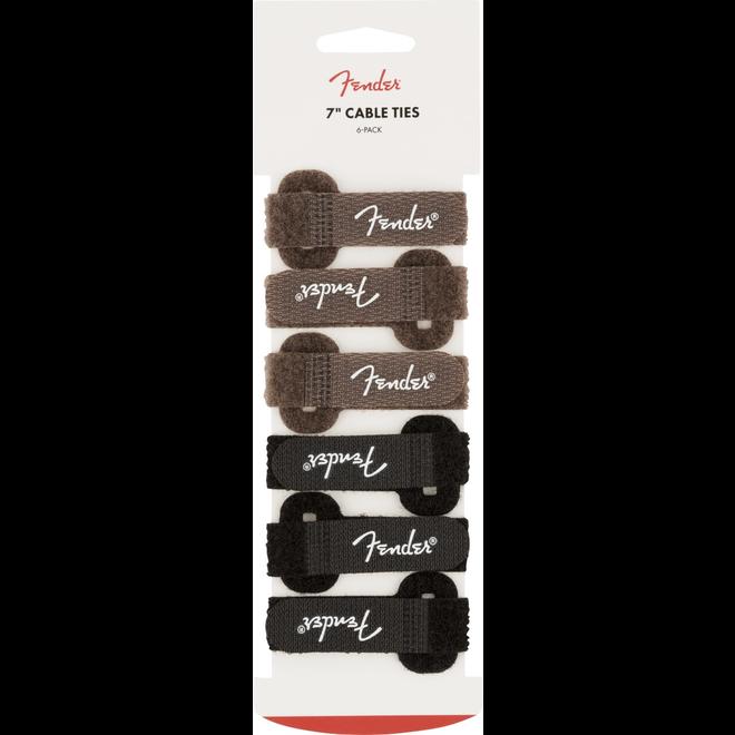 """Fender - Cable Ties, 7"""", Black and Brown (3 Black & 3 Brown)"""