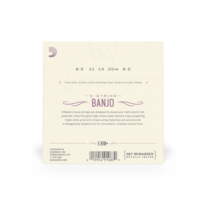 D'Addario - EJ60+ Nickel Wound, Light Plus 5 String Banjo Strings