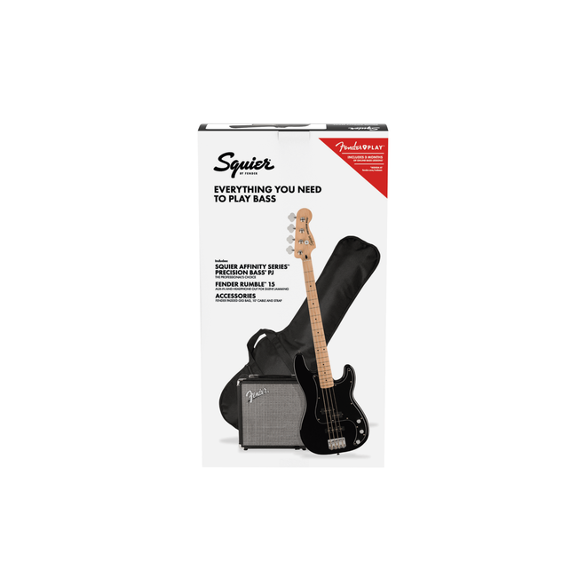Squier Affinity Series Precision Bass PJ Pack, Maple Fingerboard, Black, Gig Bag, Rumble 15