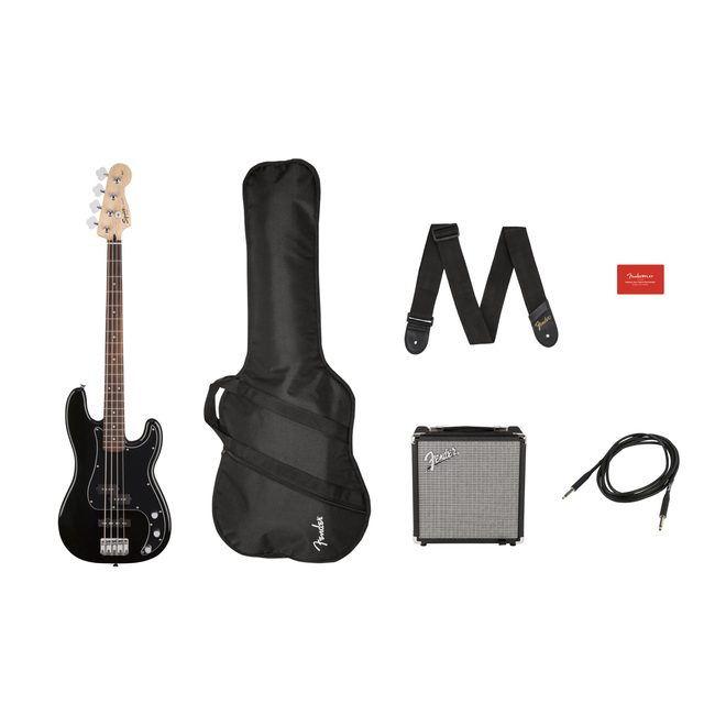 Squier - Affinity Series Precision Bass PJ Pack, Laurel Fingerboard, Black, Gig Bag, Rumble 15
