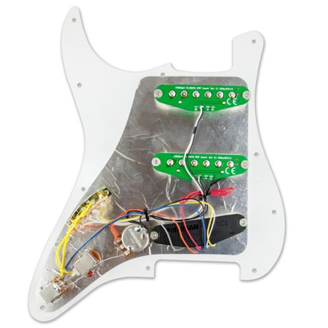 Fishman - Fluence Loaded Pickguard, 3 Single Width Strat Pickups, White