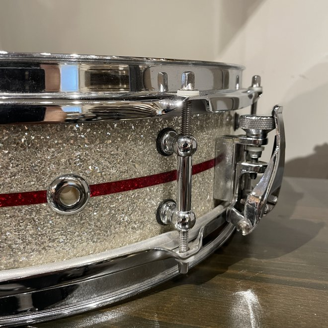 JB Drum Co - 4x14 Snare Drum, Silver/Red Glitter