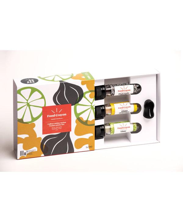 Food Crayon - Coffret cuisine fusion : ail noir, lime, gingembre