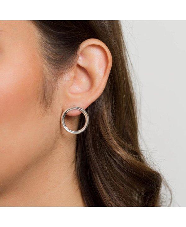 Boucles d'oreilles anneaux plats-argent-large