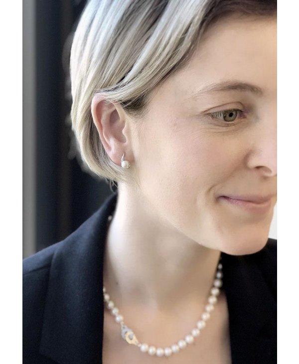 Boucles d'oreilles argent/perle rose