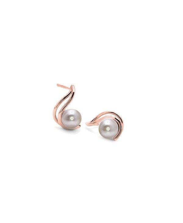 Boucles d'oreilles or rose 10kt/perle blanche