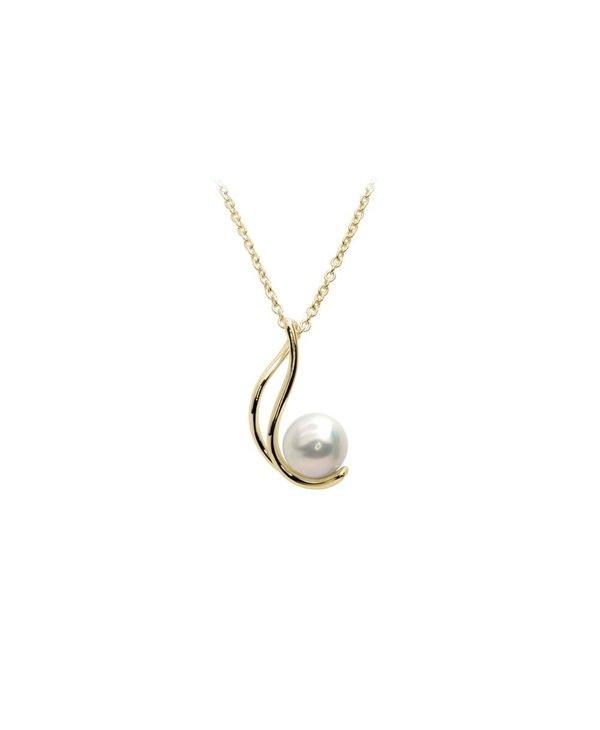 Collier berceaux or jaune 10kt/perle blanche