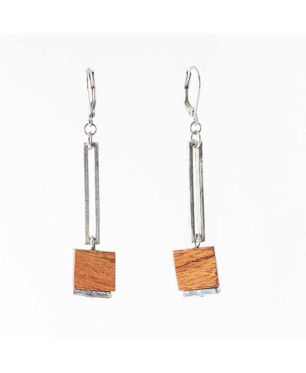 Boucles d'oreilles Lindsay, Bois/Wood