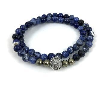 Bracelet Wrap Bali Homme -  sodalite bleu