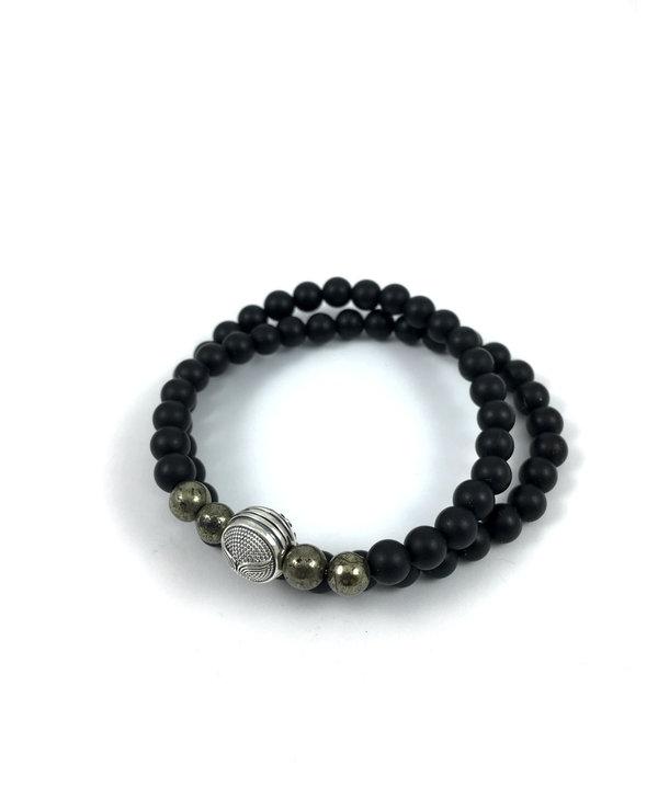 Bracelet Wrap Bali Homme - onyx mate