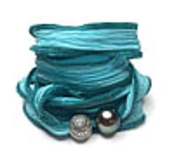 Bracelet Soie Bali Tahiti - turquoise clair