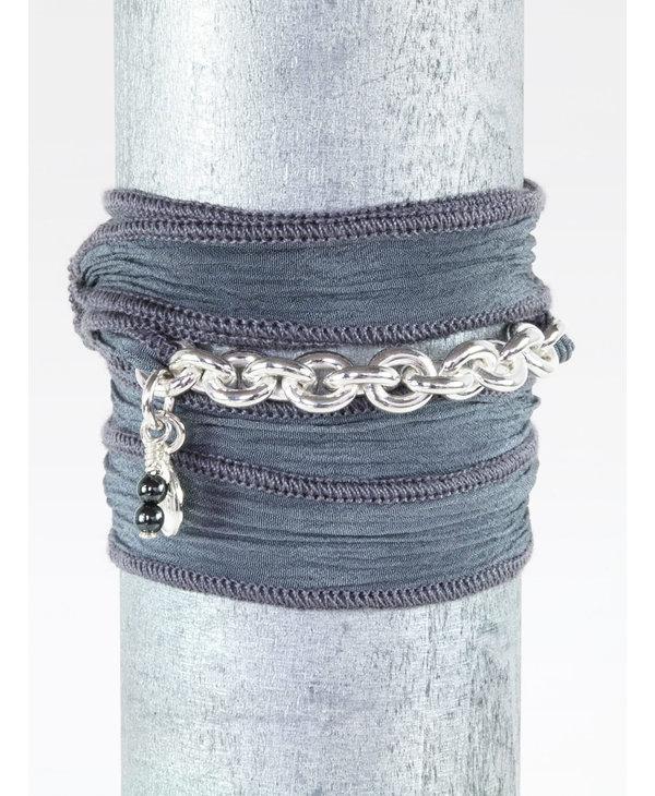 Bracelet Soie Biker - noir