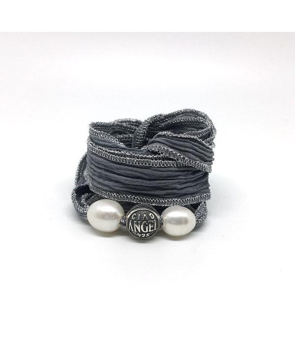 Bracelet Soie Bali Perle - argent