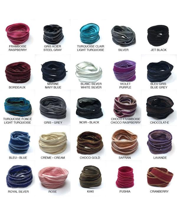 Bracelet Soie Perles - lavande