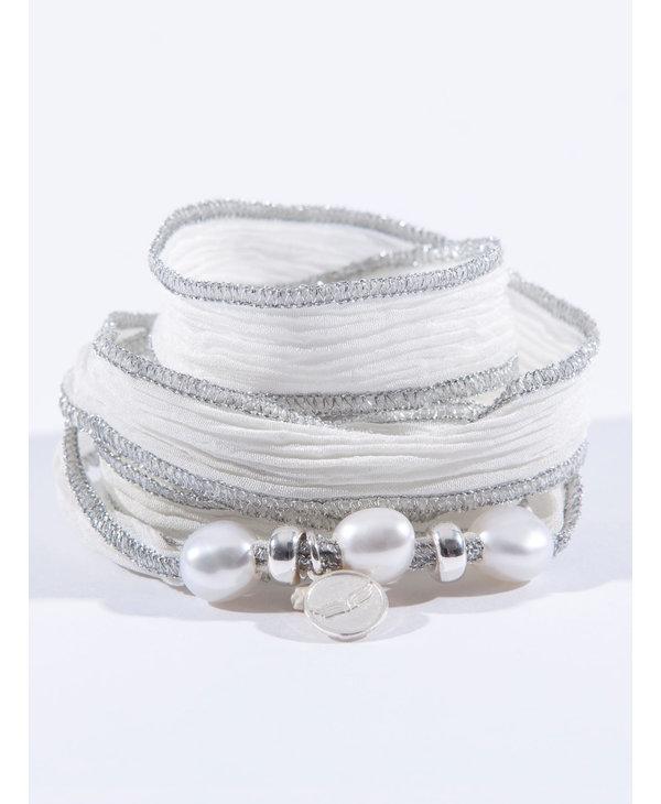 Bracelet Soie Perles - blanc argent