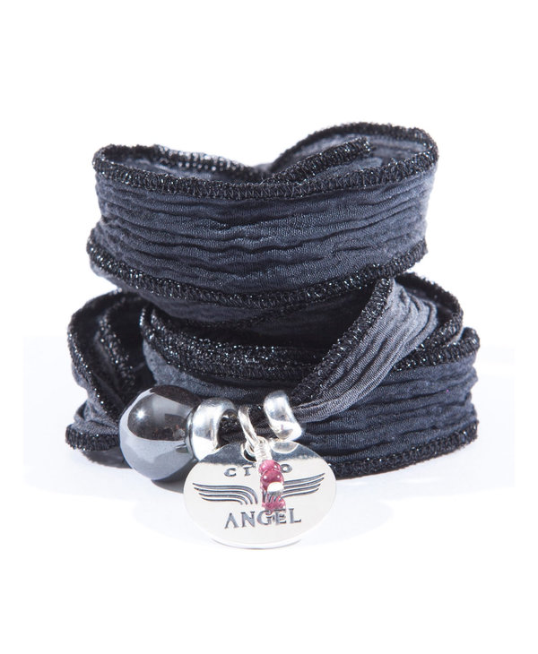 Bracelet soie Merci Angel Hématite noir