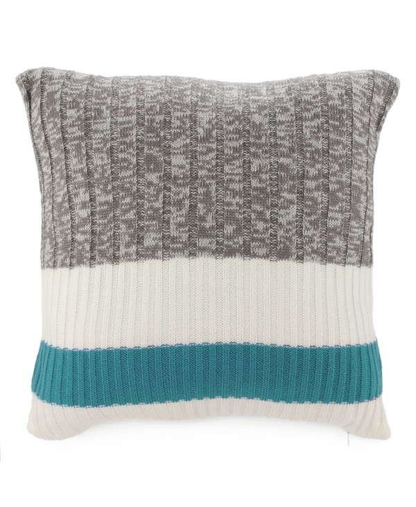 Coussin 20x20 tricot gris & bande aqua