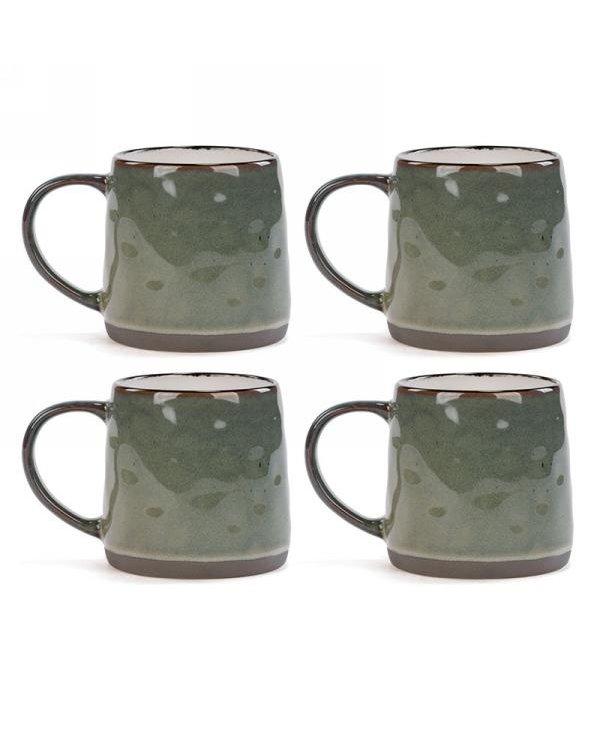 Tasse en céremaique vert kaki - ensemble de 4