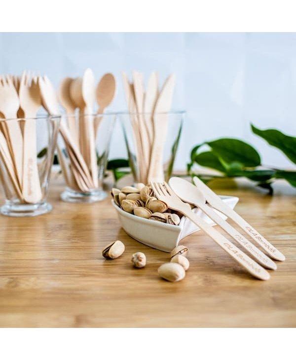 Ustenciles en bois compostables-12 couteaux