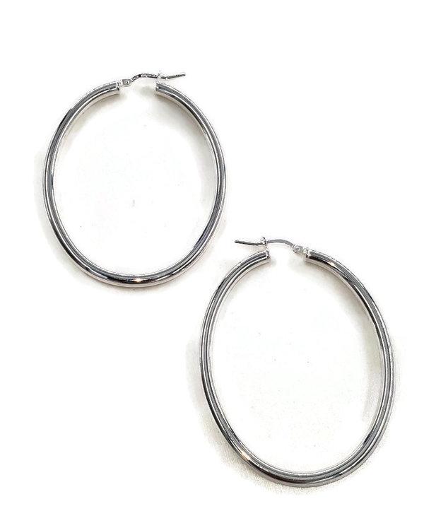 Boucles d'oreilles anneaux ovales argent