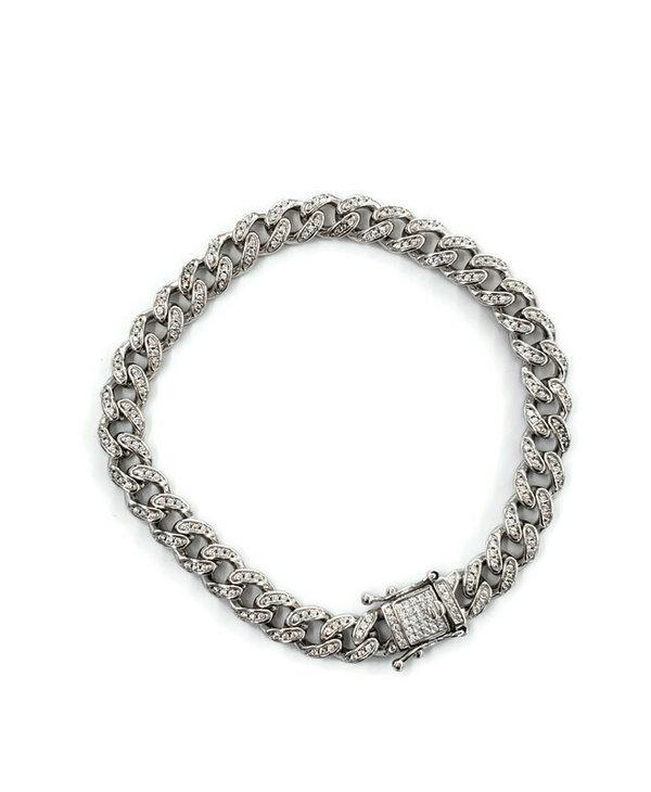 Bracelet cubain en argent 9''