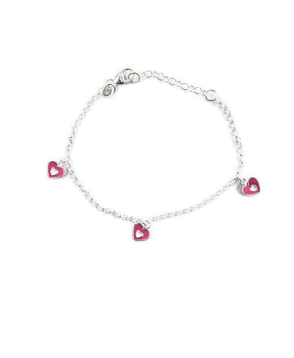 Bracelet chaîne pour enfant en argent avec coeur