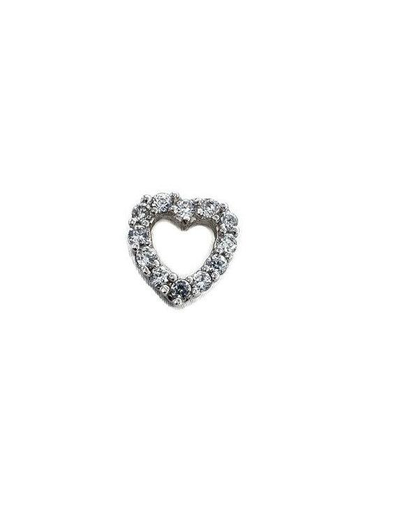 Pendentif coeur en argent à pierres