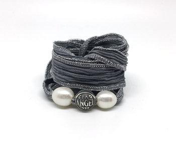 Bracelet soie Bali perle argent