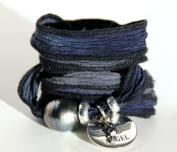 Bracelet soie Bali Tahiti bleu