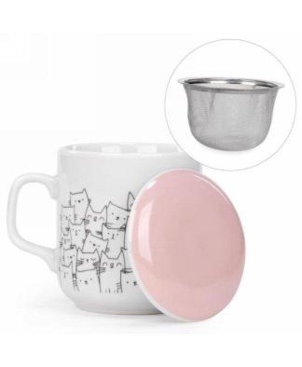 Tasse avec infuser & couvercle à motif chats