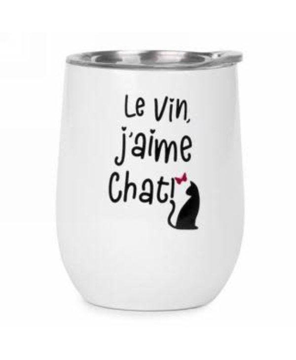 Gobelet de vin isolé Le vin j'aime chat