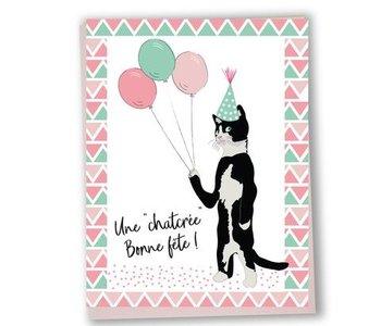 Carte de souhaits Une chatcrée bonne fête