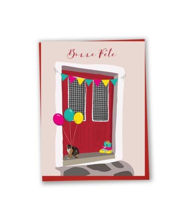 Carte de souhaits Bonne fête- porte rouge