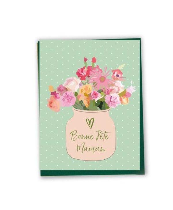 Carte de souhaits Bonne fête maman- bouquet de fleurs