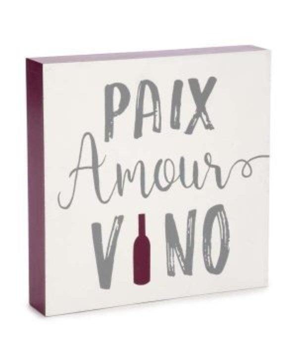 Plaque mural - Paix amour vino