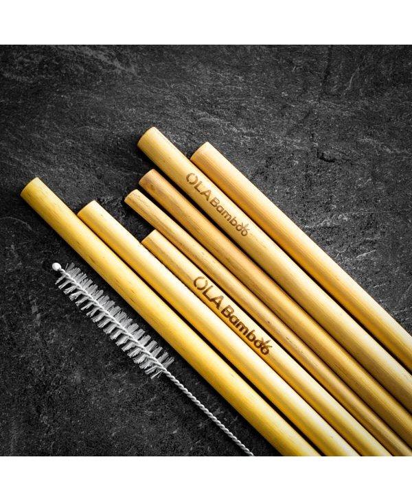 Paille réutilisable en bambou à l'unité pour smoothies