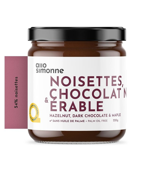 Tartinade noisettes, chocolat noir & érable